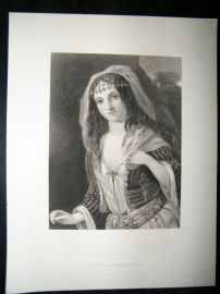 Pretty Lady 1867 Antique Print. Haidee